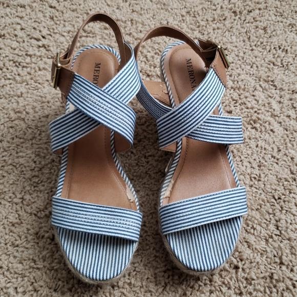 Blue And White Stripe Sandals   Poshmark